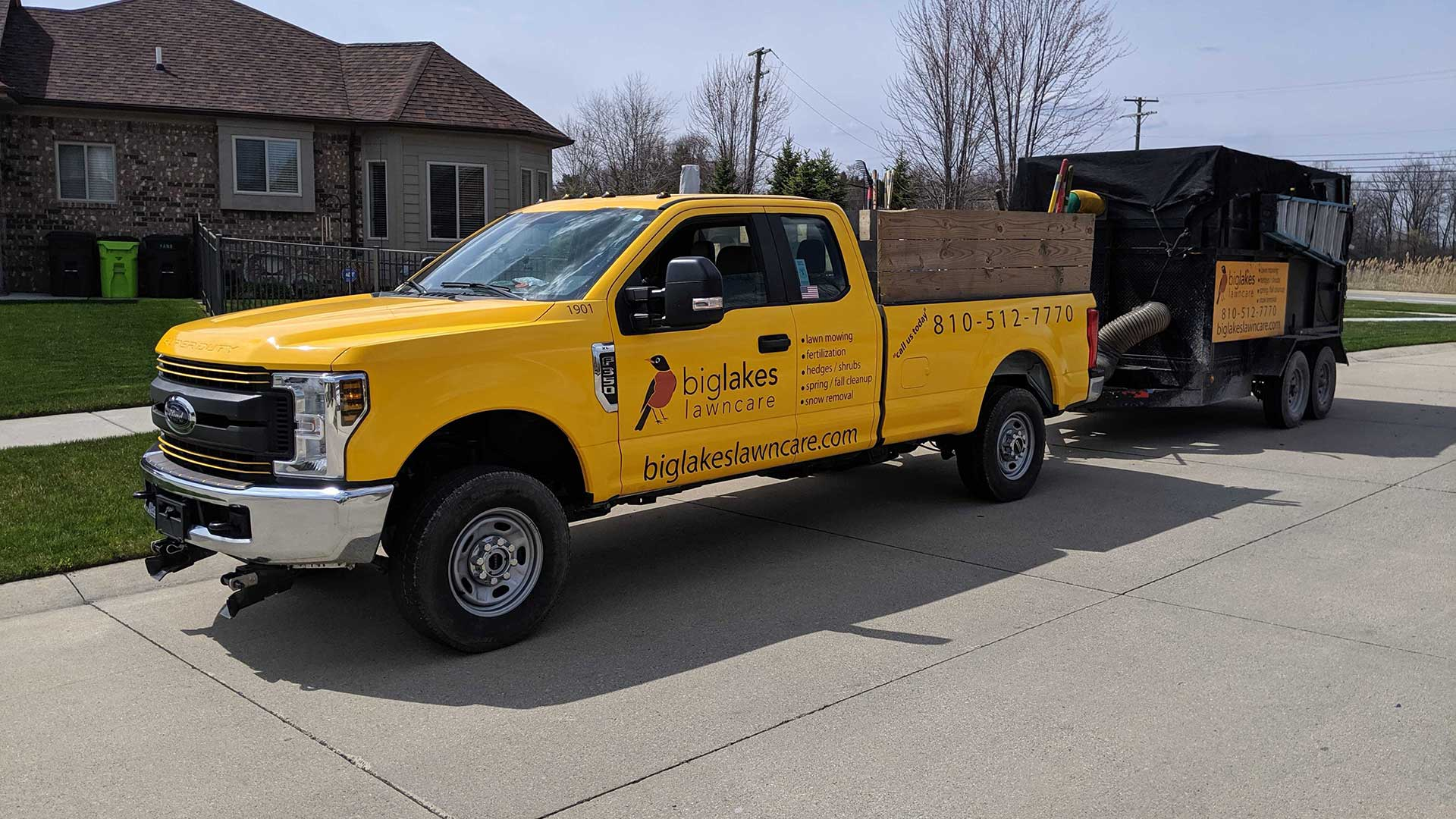 Big Lakes Lawncare lawn care and landscaping service truck in Washington, MI.