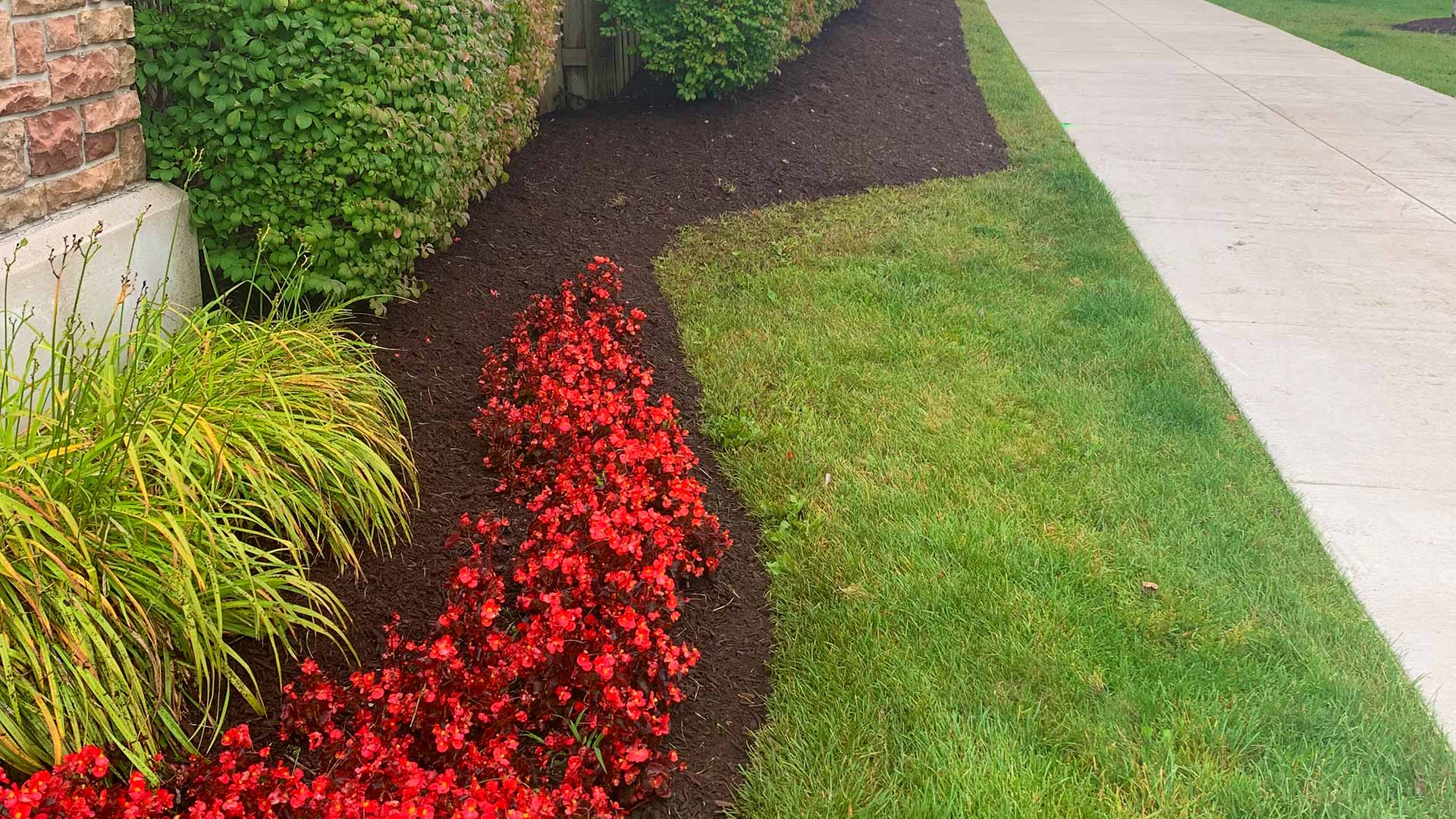Fresh mulch installation in a commercial landscape bed near Macomb, MI.