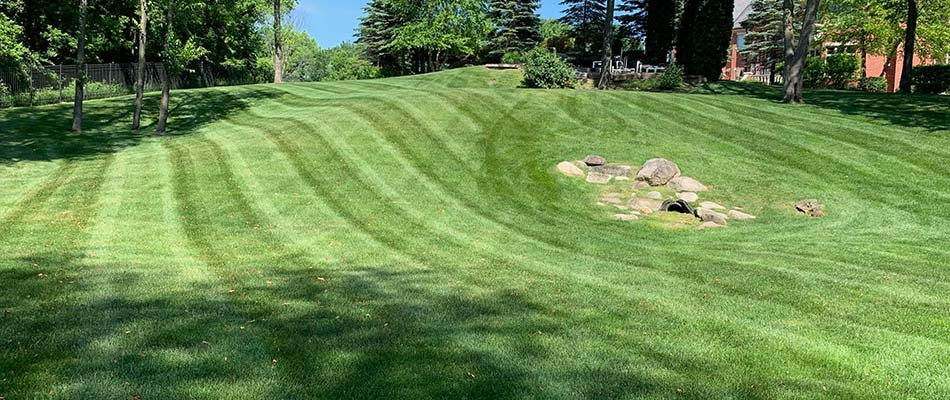 Well maintained home landscaping near New Baltimore, MI.