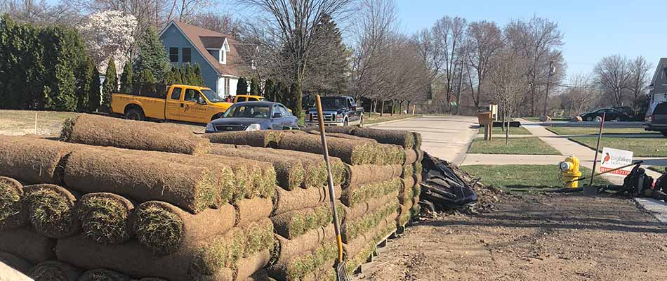 Sod prepared for installation at a Shelby, MI residential property.